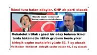 İkinci tura kalan adaylar. ak parti ve CHP  olacak.