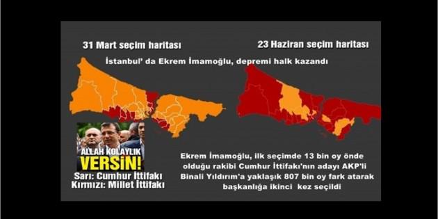 İstanbul' da Ekrem İmamoğlu, depremi halk kazandı