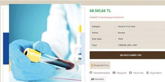 Test simsarları: Şimdi de korona test kitleri 76 Bin Liraya satılıyor…