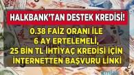 Halkbank 6 Ay Ertelemeli 25 Bin TL Destek Kredisi Paketi! 0.38 Faiz Oranı İle İnternetten İhtiyaç Kredisi Başvuru Linki