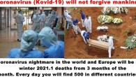 Coronavirus nightmare in the world and Europe will be in winter 2021.1 deaths from 3 months of the month. Every day you will find 500 in different countries