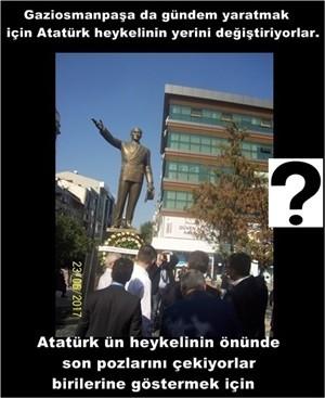 Atatürk heykelinin yerini değiştiriyorlar.